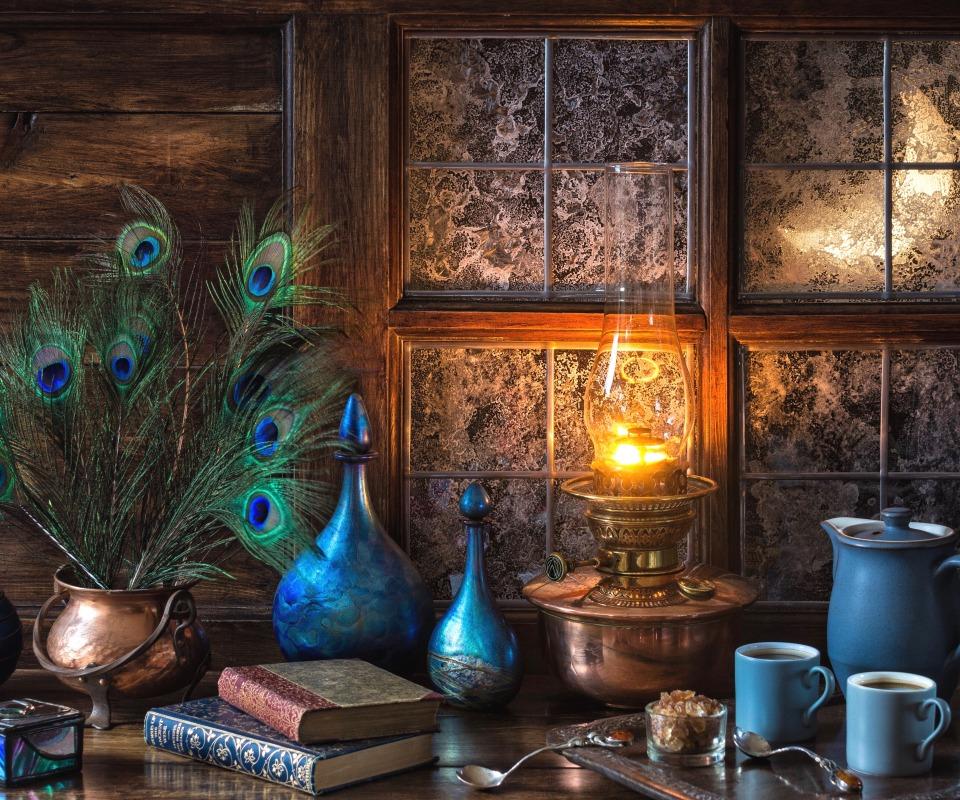 natiurmort posuda goluboi kofe okno moroz peria lampa knigi